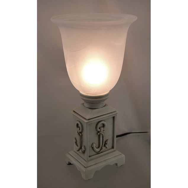 12 In. Beige Nautical Anchor Accent Lamp W/Frosted Table Lamps