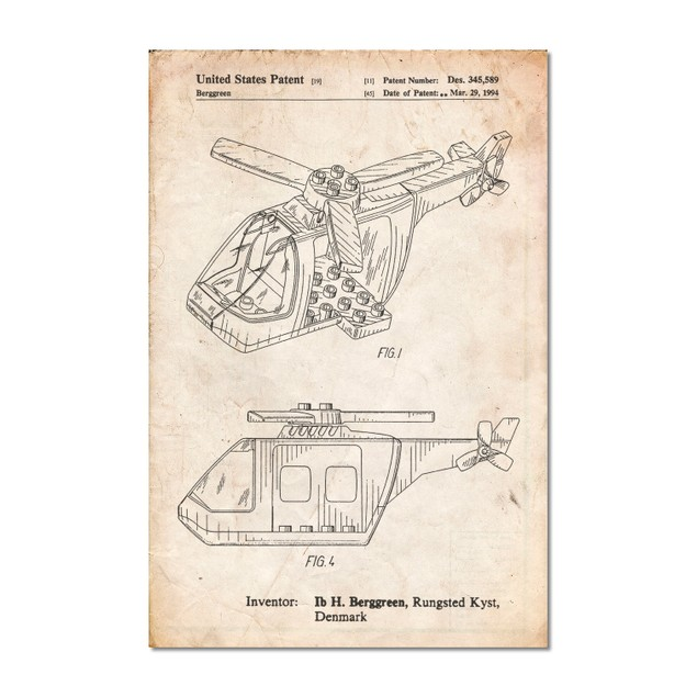 Lego Helicopter Building Kit Patent Poster