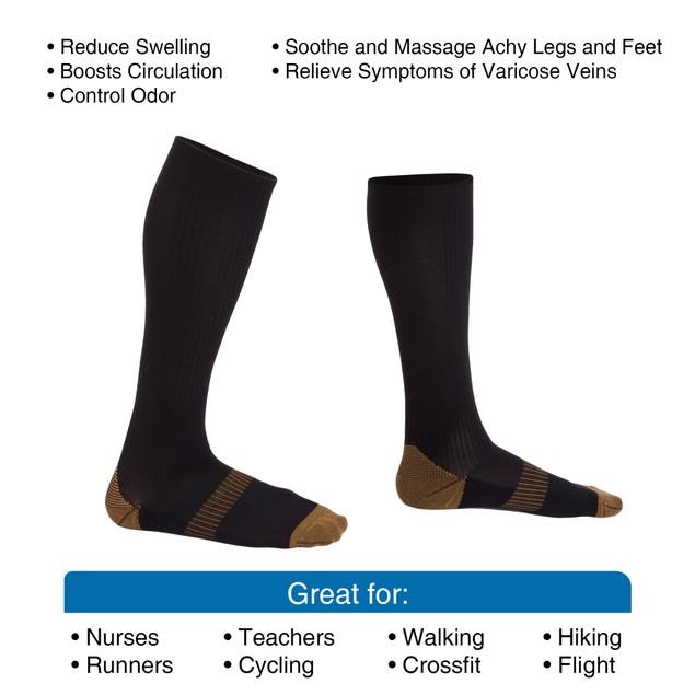 1 Pair Copper Compression Socks
