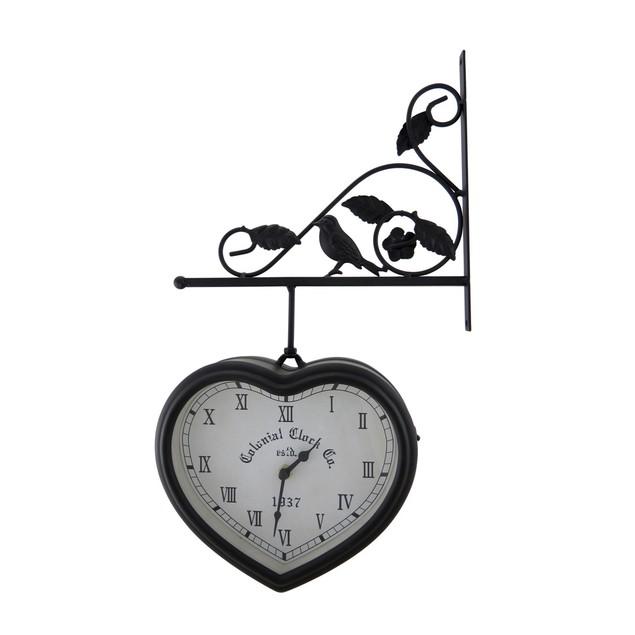 Double Sided Hanging Heart Shaped Clock Wall Clocks