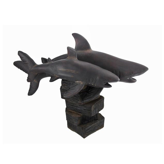 Pair Of Mother And Child Shark Wooden Look Statues Statues
