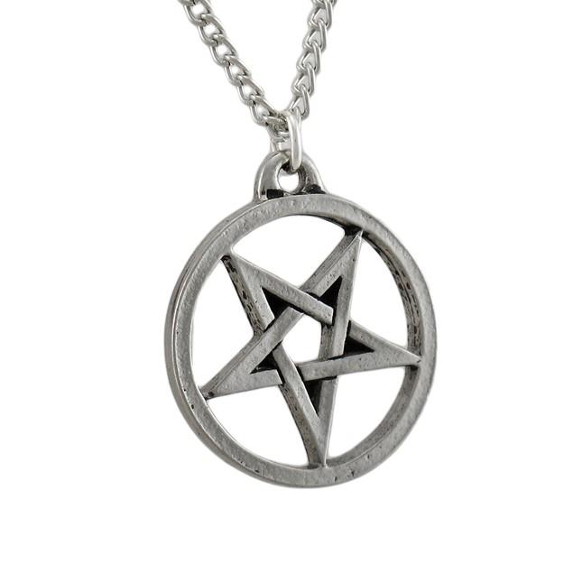 Chrome Plated Inverted Pentagram Pendant / Mens Pendant Necklaces