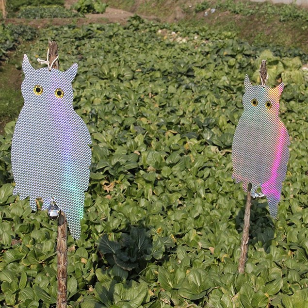"2-Pack 16"" Bird Repellent Reflective Hanging Owl Blinders With Bells"