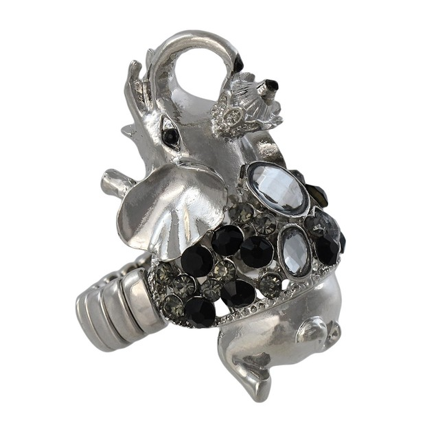 Adorable Silvertone Elephant Head Stretch Ring Rings
