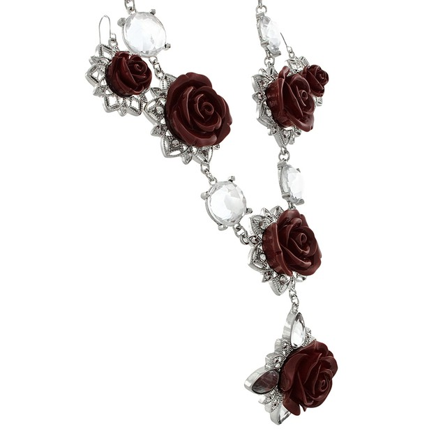 Silver Tone Red Rose Necklace And Dangle Earrings Womens Earring And