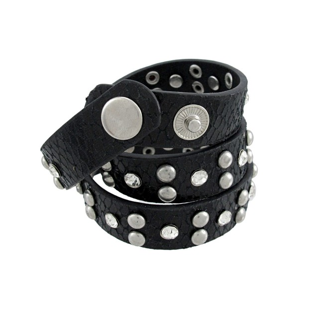 Black Vinyl Snakeskin Triple Wrap Rhinestone Mens Wrap Bracelets