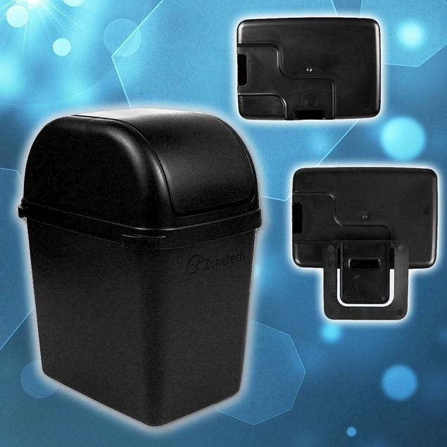 Zone Tech Portable Small Car Garbage Trash Litter Wastebasket Can Latch