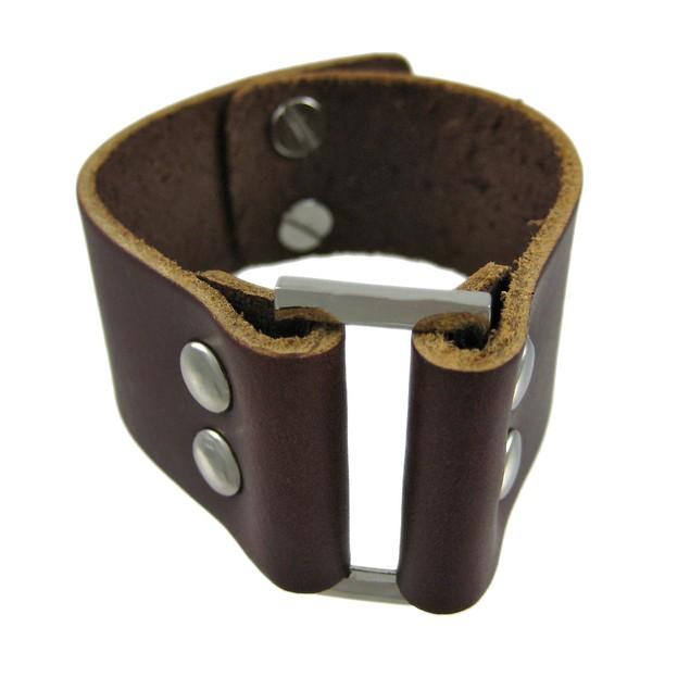 Brown Leather Strap Bracelet Chrome Accents Mens Leather Bracelets