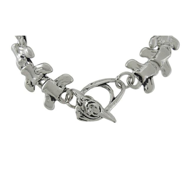 Chrome Plated Vertebrae Link Toggle Clasp Bracelet Mens Chain Bracelets