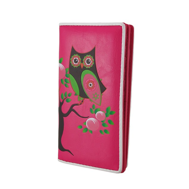 Retro Style Owl On Tree Branch Textured Vinyl Womens Wallets