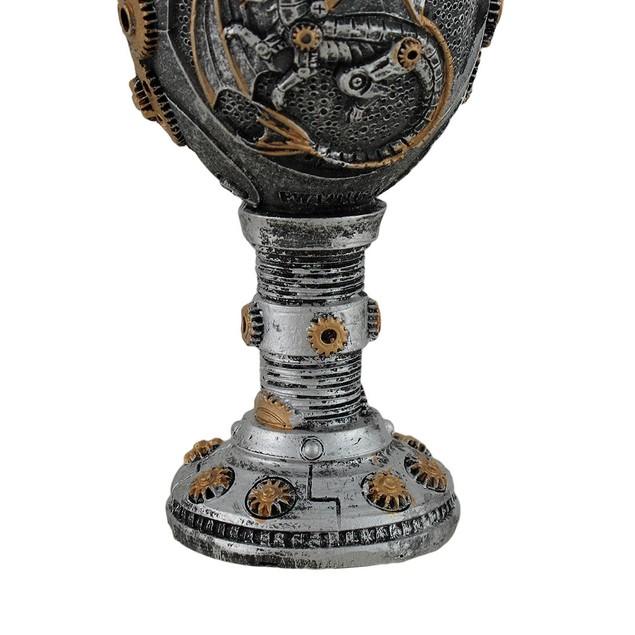 Silvered Steampunk Dragon And Gears Goblet Goblets