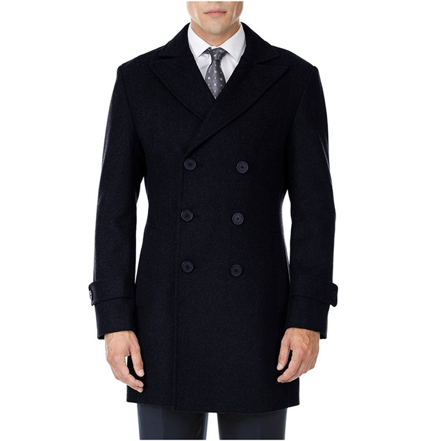 Men's Single or Double-Breasted Wool-Blend Coat (S-3X)