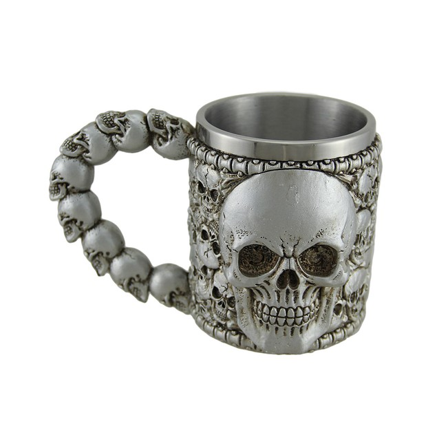 Creepy Boneyard Skulls Metallic Silver Mug W/ Mugs