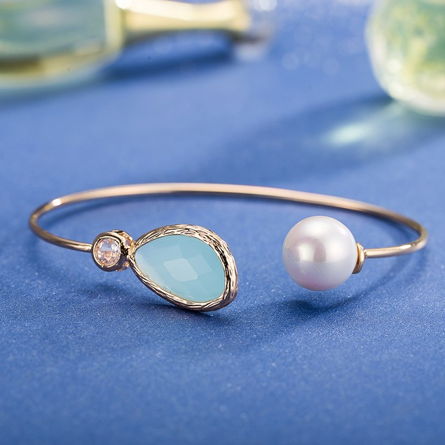 Gold Plated Petite Turquoise & Pearl Open Ended Bangle