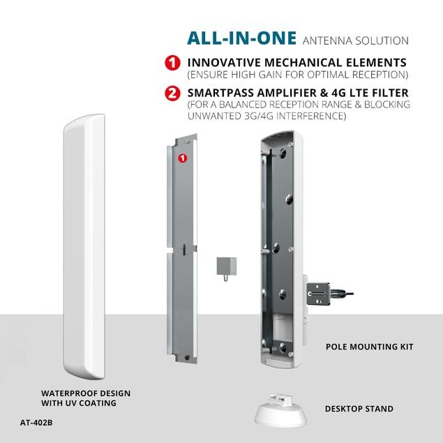 ANTOP AT-402B Outdoor/Indoor HDTV Antenna Smartpass Amplified