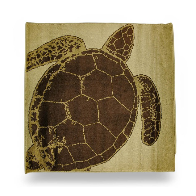 Beige And Brown Sea Turtle Square Accent Rug 32 Accent Rugs
