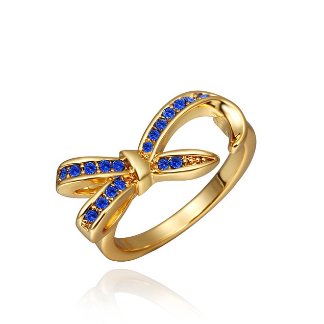 Designer-Inspired Bow Gold Plated Dipped Blue Stone Ring