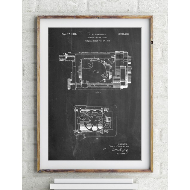 Motion Picture Camera 1932 Patent Poster
