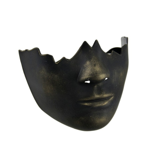 Black Gold Finish Broken Face Half Mask Mens Costume Masks