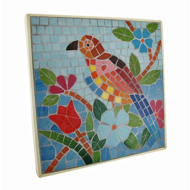 Tropical Mosaic Tile Parrot Wall Plaque Decorative Plaques