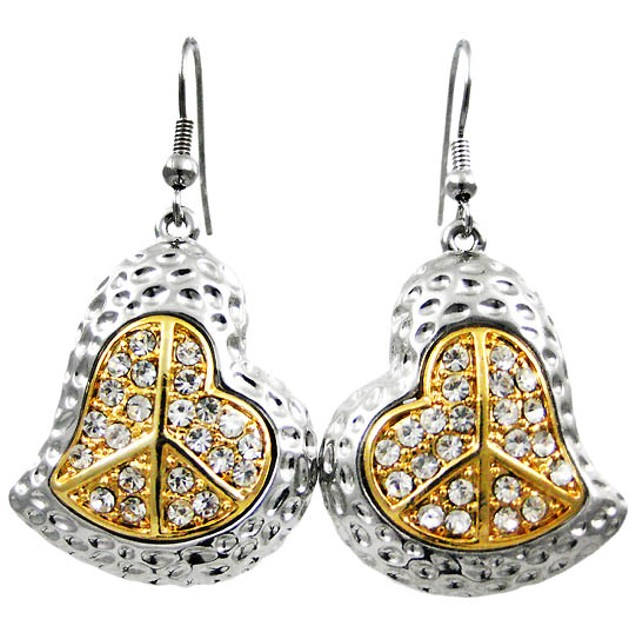 Rhinestone Peace Sign Heart Necklace / Earrings Womens Earring And Necklace