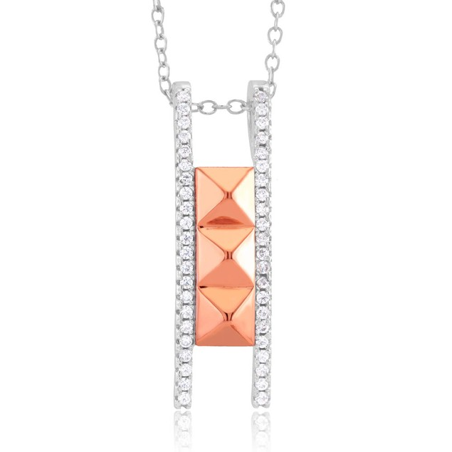 Rose Gold Plated Sterling Silver Pyramid Ladder Necklace