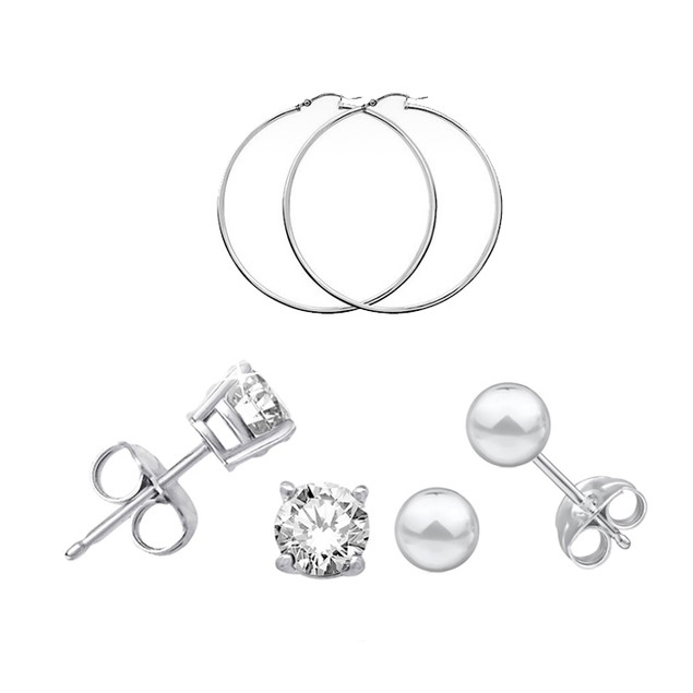 3-Pack Sterling Silver Earrings (Gift Boxed)