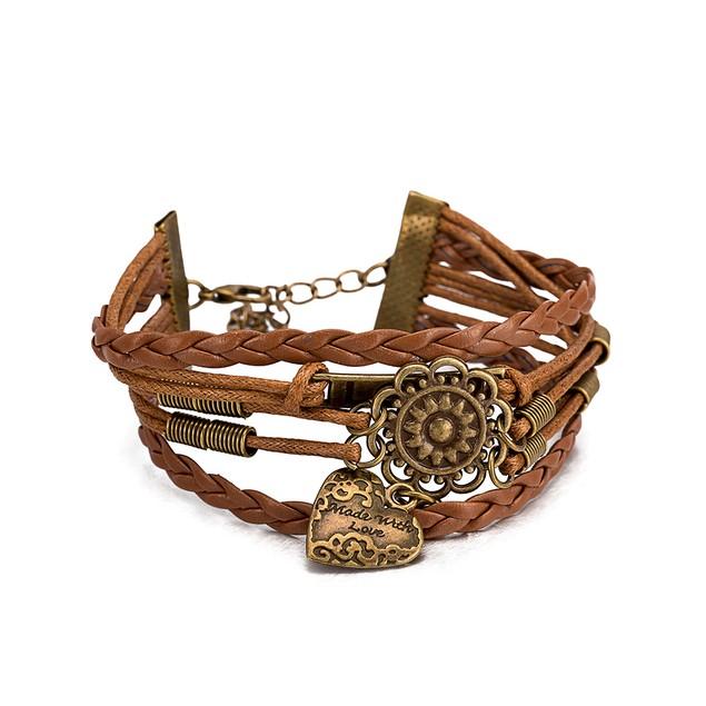 Beige Leather Bronze Emblem Bracelet