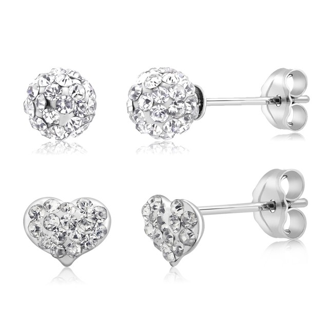 2-Pack Sterling Silver Heart & Round Crystal Earrings