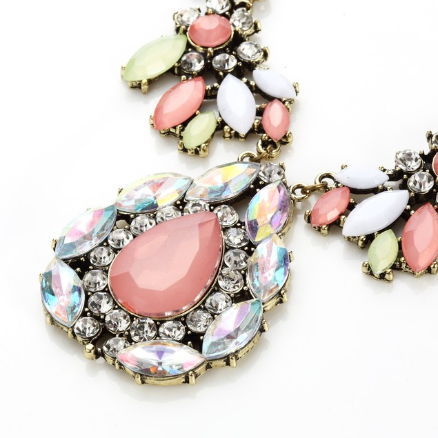 Neon Pastel Rhinestone Cluster Statement Necklace
