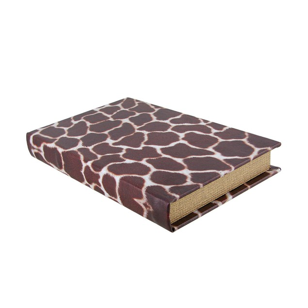 Giraffe Print Faux Leather Book Secret Stash Box Decorative Boxes