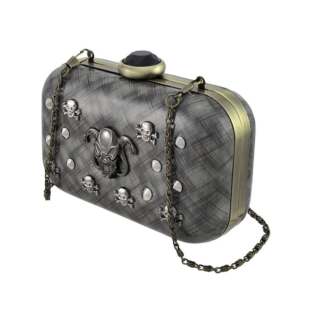Glossy Gray Clutch Purse With Studs, Skulls, Womens Evening Handbags