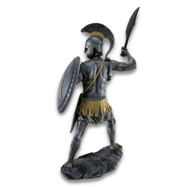 Spartan Warrior With Sword And Hoplite Shield Statues