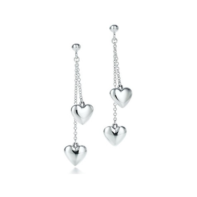 Silver Double Heart Drop Earrings
