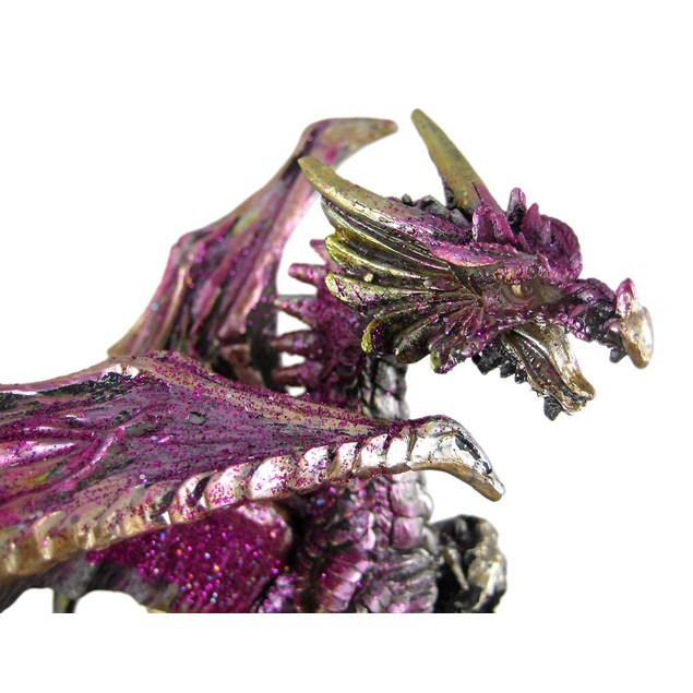 Metallic Gothic Double Dragon Geode Statue Figure Statues