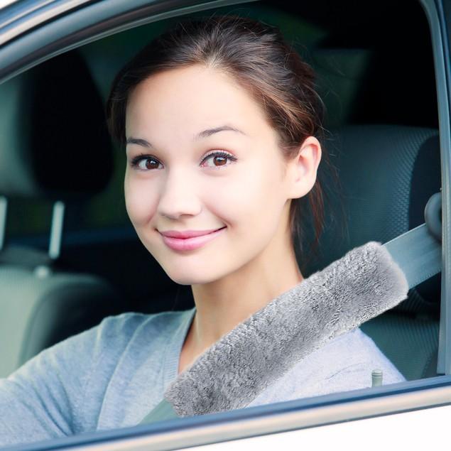 2 Cute Sheepskin Car Seat Belt - Comfortable Fabric -Adjustable Velcro Pads