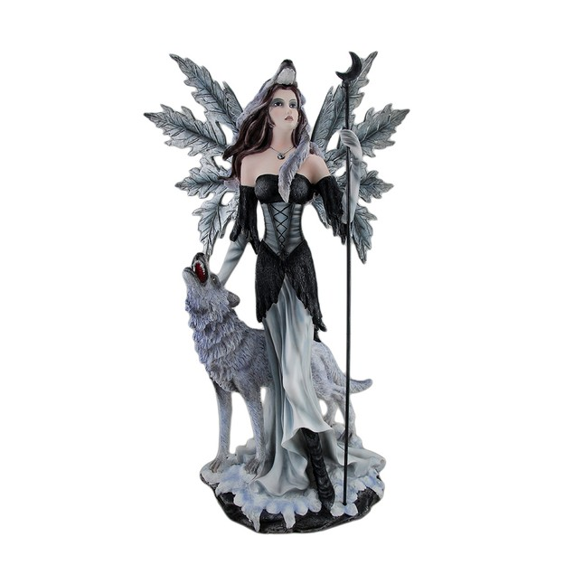 Pagan Winter Forest Fairy W/ Wolf Familiar Statue Statues