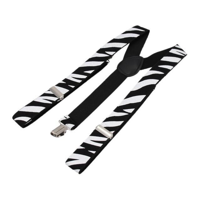 Zebra Stripe Adjustable Suspenders Braces Black / Mens Suspenders