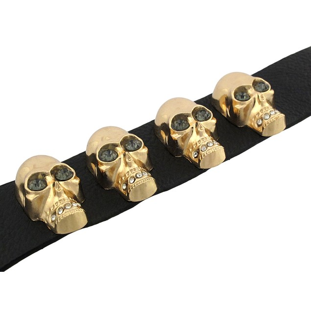 Black Leather Wristband W/ Goldtone Skulls And Mens Leather Bracelets