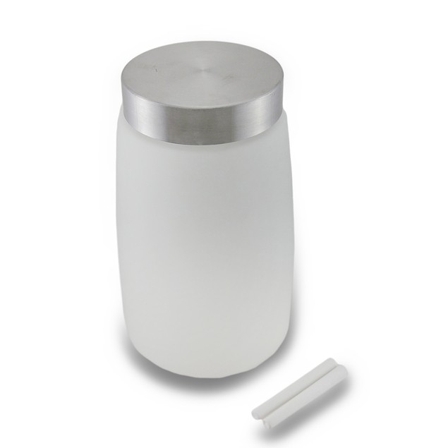 Frosted Glass Storage Jar W/Chalkboard Label And Canisters