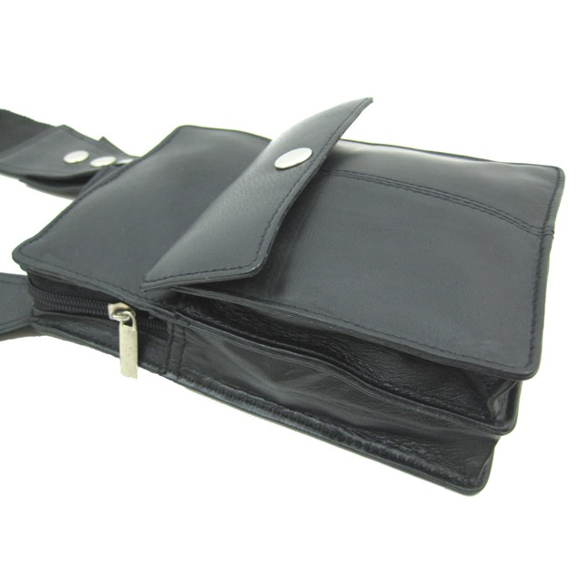 Black Napa Leather Holster Style Travel Wallet Womens Cross Body Bags