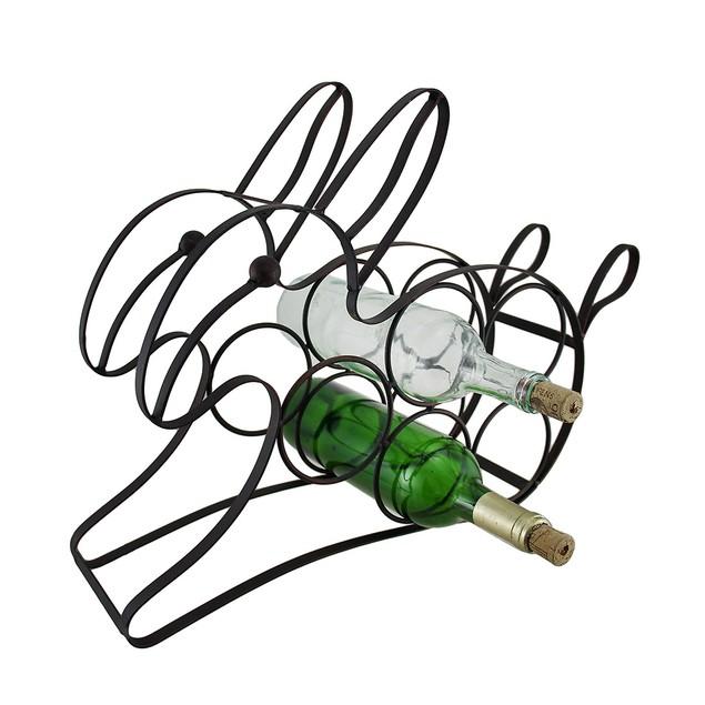 Black Enemael Coated Bunny Rabbit 5 Bottle Metal Wine Racks