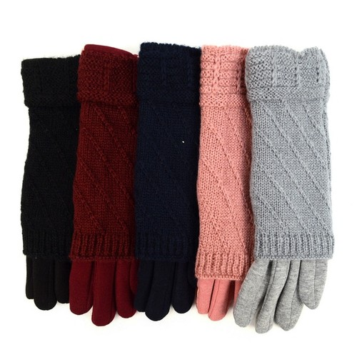 Double Layer Knitted Touch Screen Women's Gloves