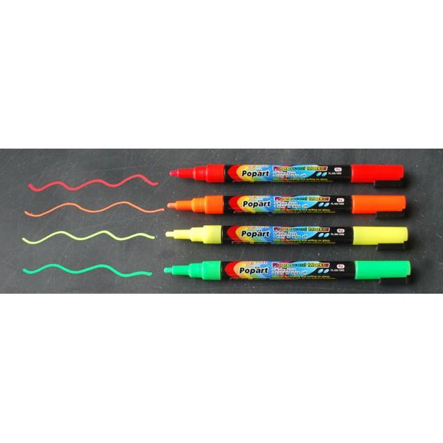 4-Pack 3mm Fine Tip Fluorescent Chalk Marker - 3 Styles