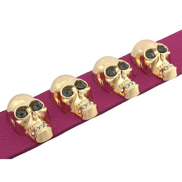 Fuchsia Leather Wristband W/ Goldtone Skulls And Womens Leather Bracelets