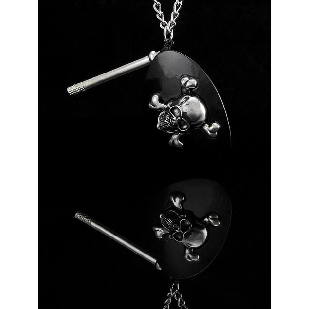 Black Enamel Pirate Eye Patch Prop Pendant W/ 30 Mens Pendant Necklaces