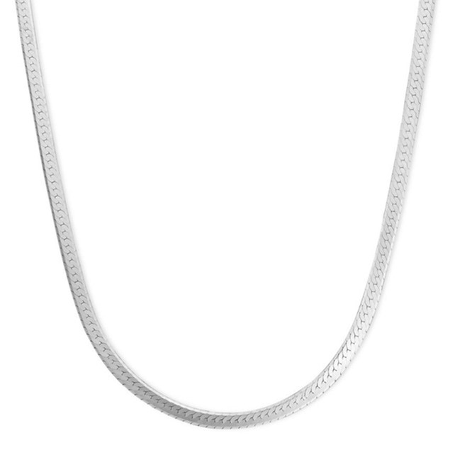 White Gold Herring Bone Chain Necklace