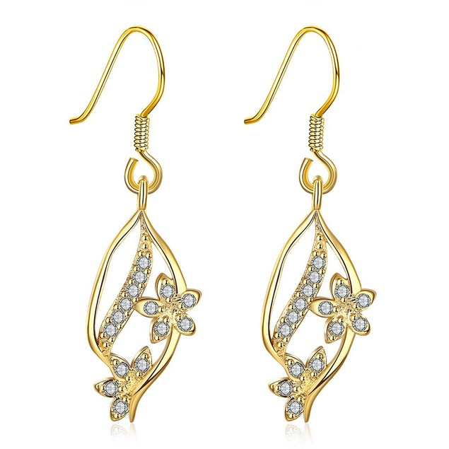 Gold pave Covered Natural Inspired Drop Down Earrings