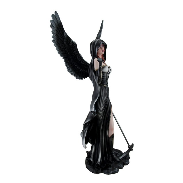 Gothic 24 Inch Tall Black Angel Of Death W/ Scythe Statues