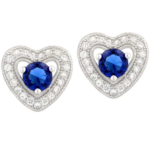 Sterling Silver Crystal Halo Heart Studs